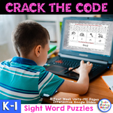 Digital and Printable Sight Word Crack the Code Puzzles K-