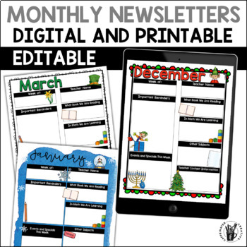 Digital and Printable Weekly or Monthly Newsletters