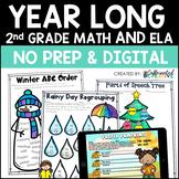 Second Grade Digital & Printable Math and ELA Activities f
