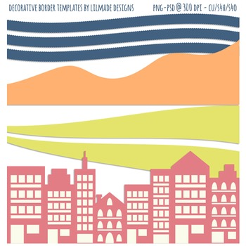 Digital borders clip art, skyline clipart, town clipart