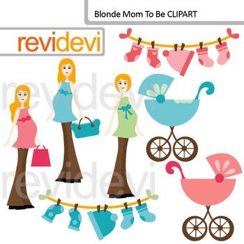 Digital clip art Blonde Mom To Be