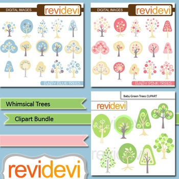 Digital clip art - Whimsical Trees Bundle (3 packs) - pink, blue, green