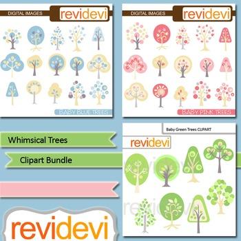 Digital clip art - Whimsical Trees Bundle (3 packs) - pink