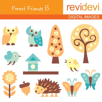 Digital clipart - Forest Friends B (owls, trees, birds, butterflies), nature