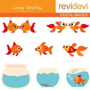 Digital clipart Goldfish and Aquarium