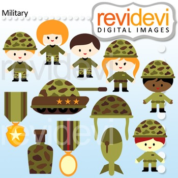 Digital clipart Military - Army boys and girls