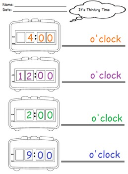 Digital clocks: Preschoolers