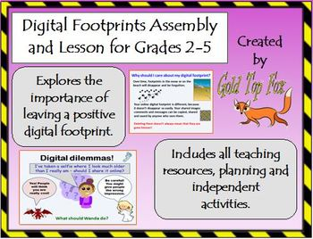 Digital Footprints Assembly and Lesson for E-Safety (Grades 2-5 Internet Safety)