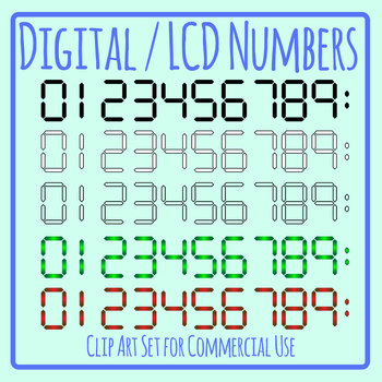 Digital or LCD Display Numbers 0-9 Clip Art Set Commercial Use