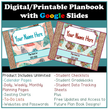 Digital or Printable Teacher Planner using Google Slides Updated 2018/2019
