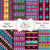 Digital paper - Aztec, tribal paper background