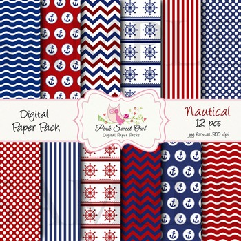 Digital paper - Blue & red nautical paper background