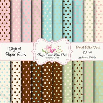 Digital paper - Pastel polka dot paper background