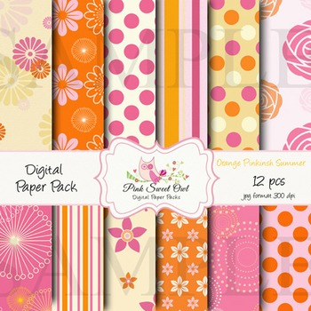 Digital paper - Pink orange summer