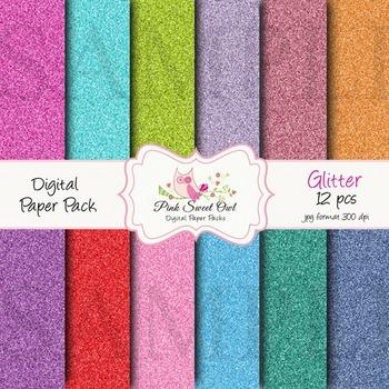Digital paper _  glitter paper backgrounds - bright colors