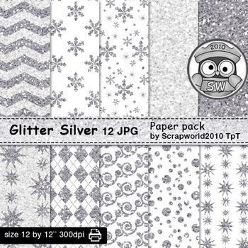 Digital paper-glitter silver
