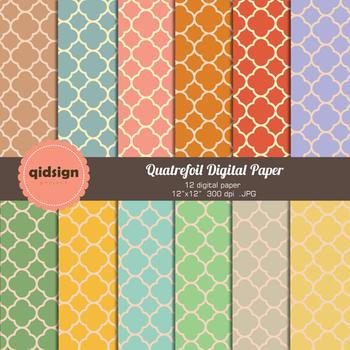 Digital paper quatrefoil pattern retro color