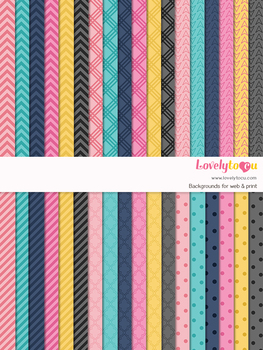 Digital paper seamless background, 36 basic patterns (LP001A)