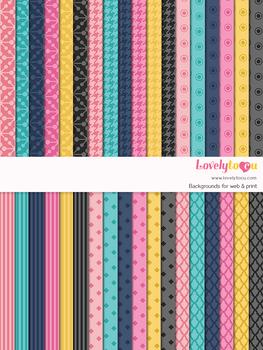 Digital paper seamless background, 36 basic patterns (LP001B)