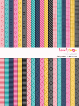 Digital paper seamless background, 36 basic patterns (LP001C)