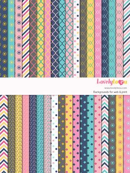 Digital paper seamless background, 36 basic patterns (LP001D)