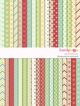 Digital paper seamless background, 36 basic patterns (LP002D)