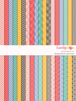 Digital paper seamless background, 36 basic patterns (LP004A)