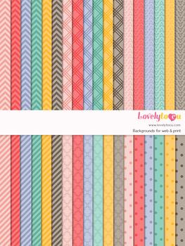Digital paper seamless background, 36 basic patterns (LP004A)