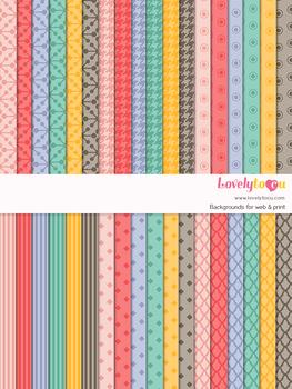 Digital paper seamless background, 36 basic patterns (LP004B)