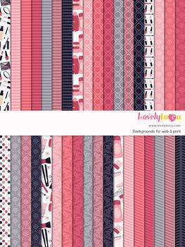 Digital paper seamless background, 36 beauty theme patterns (LP005A)