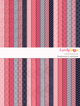 Digital paper seamless background, 36 basic patterns (LP005C)