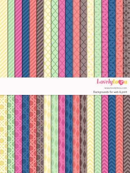 Digital paper seamless background, 36 basic patterns (LP006C)