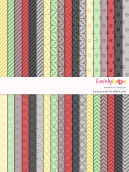 Digital paper seamless background, 36 basic patterns (LP007A)