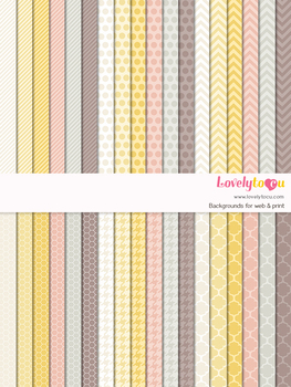Digital paper seamless background, 36 basic patterns (LP012)