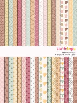 Digital paper seamless background, 36 basic patterns (LP022B)