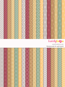 Digital paper seamless background, 36 basic patterns (LP025)