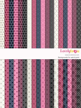 Digital paper seamless background, 36 basic patterns (LP033B)