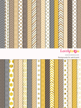 Digital paper seamless background, 36 gold patterns (LP027A)