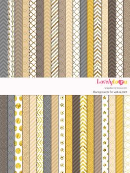 Digital paper seamless background, 36 gold patterns (LP027A)