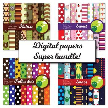 Digital paper: super bundle! Nature, space, polka dots & sweet (girls)