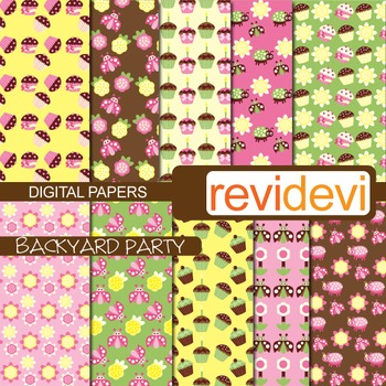 Digital papers - Backyard Party (cupcakes, owls, ladybugs) pink, green, brown