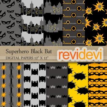 Digital papers (black, yellow) Superhero Black Bat 10073