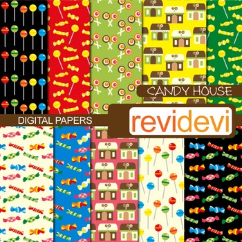 Digital papers - Candy House (sweets, lollipops) background