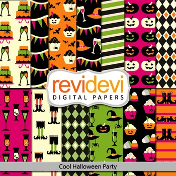 Digital papers - Cool Halloween Party (black, pink, green) background