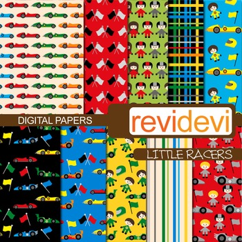 Digital papers - Little Racers (kids, racing, race cars) background