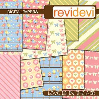 Digital papers - Love is in the air (birds, butterflies) pastel colors