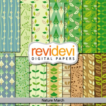 Digital papers - Nature march - Set of 15 (go green, leave