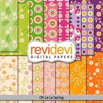 Digital papers - Oh la la spring - set of 15 (purple, pink, green, orange)