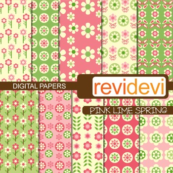 Digital papers - Pink lime spring (flower power)