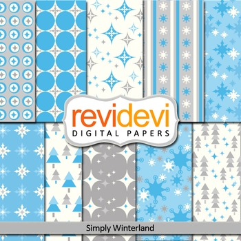 Digital papers - Simply Winterland (blue, gray, white)